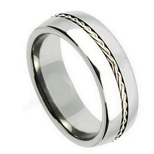 Titanium Ring Grooved with Braided Sterling Silver Inlay - 8mm