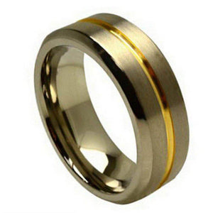 Titanium Ring Two-toned Grooved Center Beveled Edge - 8mm