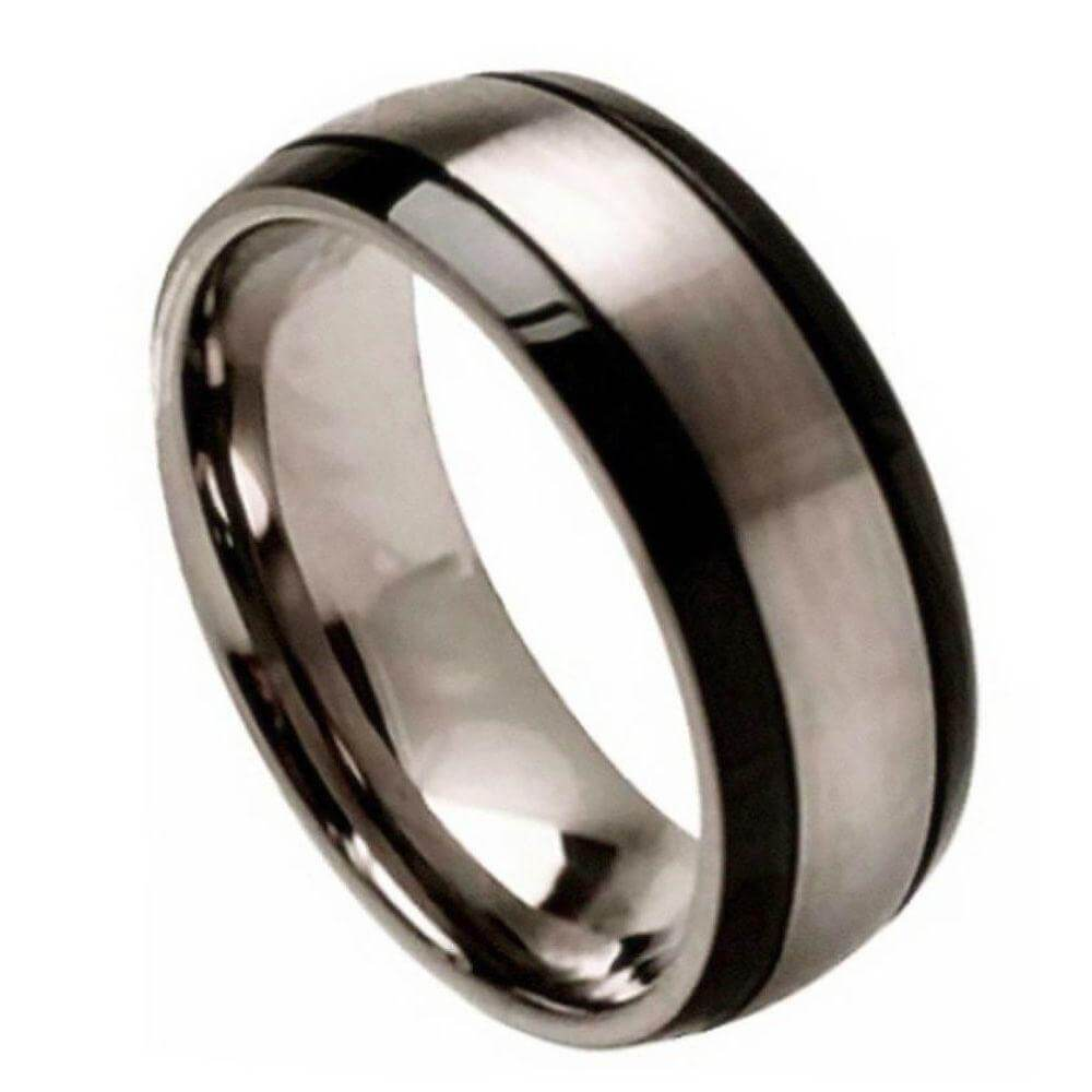 Titanium Ring Brushed Center and Black Grooved Sides
