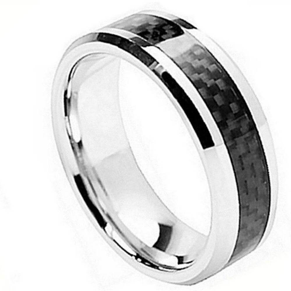 Cobalt Ring Beveled Edge with Black Carbon Fiber Inlay - 8mm