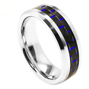 Cobalt Ring High Polished Beveled Edge with Blue Carbon Fiber Inlay - 8mm