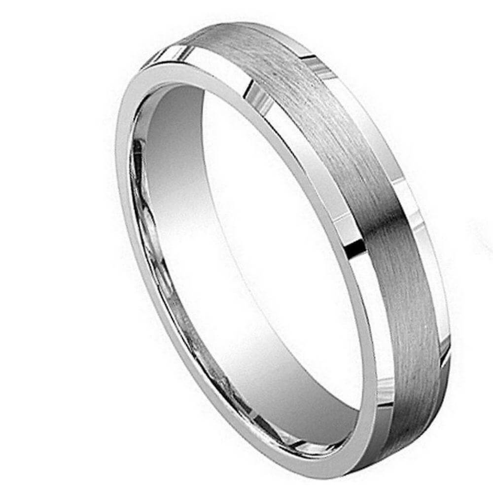 Cobalt Ring Brushed Center with Shiny & Beveled Edge - 5mm