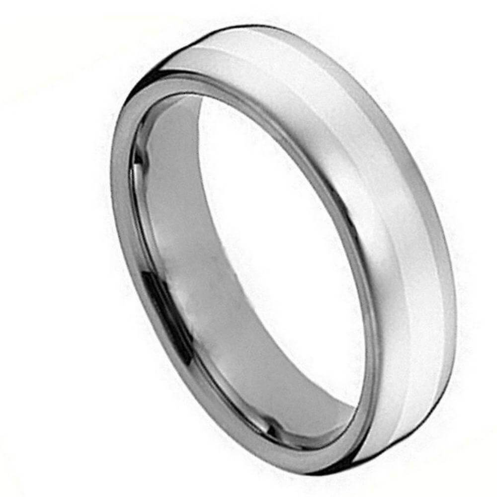 Cobalt Ring Polished Shiny with Brushed Center - 5mm