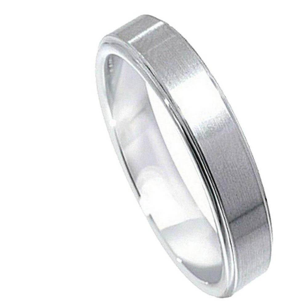 Cobalt Ring Flat Brushed Center Polished Shiny Edge - 5mm