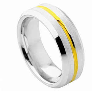 Cobalt Ring Yellow Gold Plated Grooved Center with High Polish Beveled Edge - 8mm