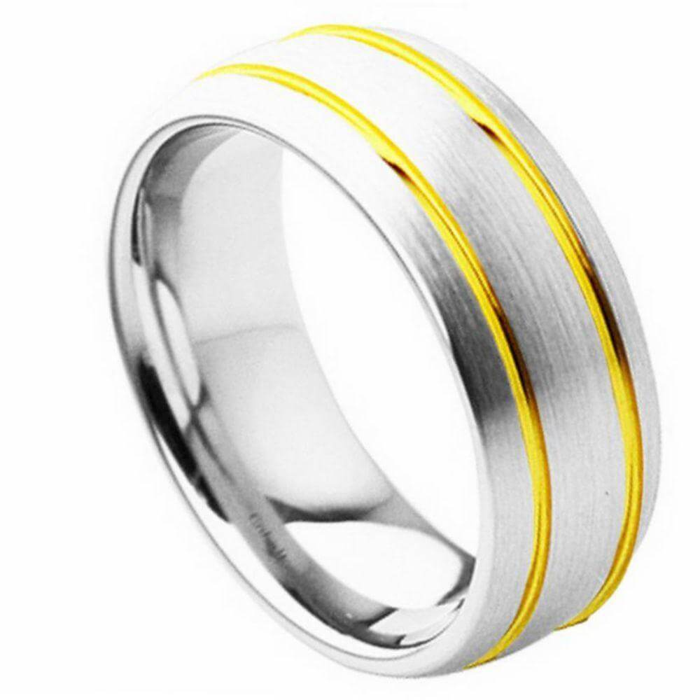 Cobalt Ring Domed Brushed Finish with High Polished Yellow Gold Plated Double Grooved Design - 8mm