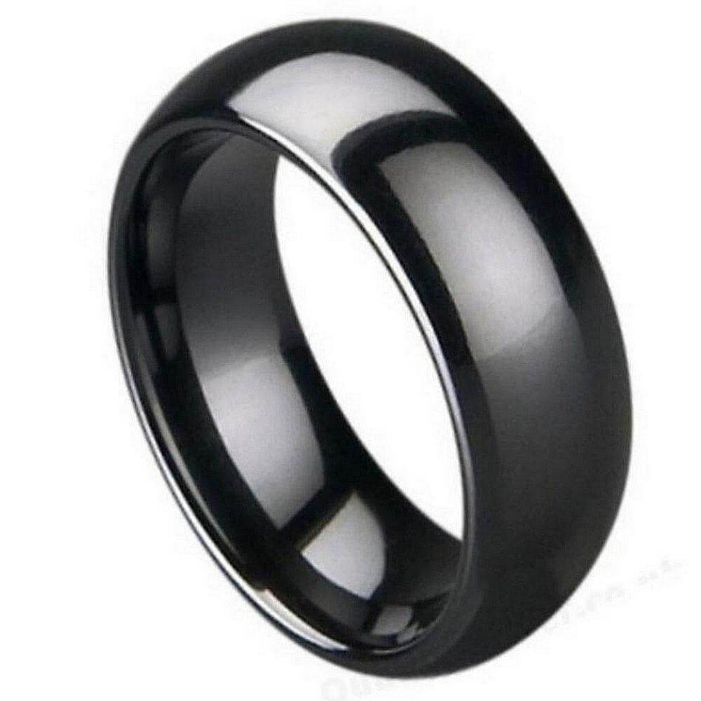 Black Ceramic Classic Domed Ring High Polished - 7mm