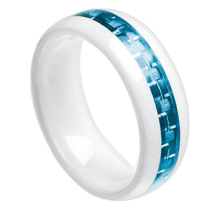 White Ceramic Domed Ring with Aquamarine Carbon Fiber Inlay - 8mm