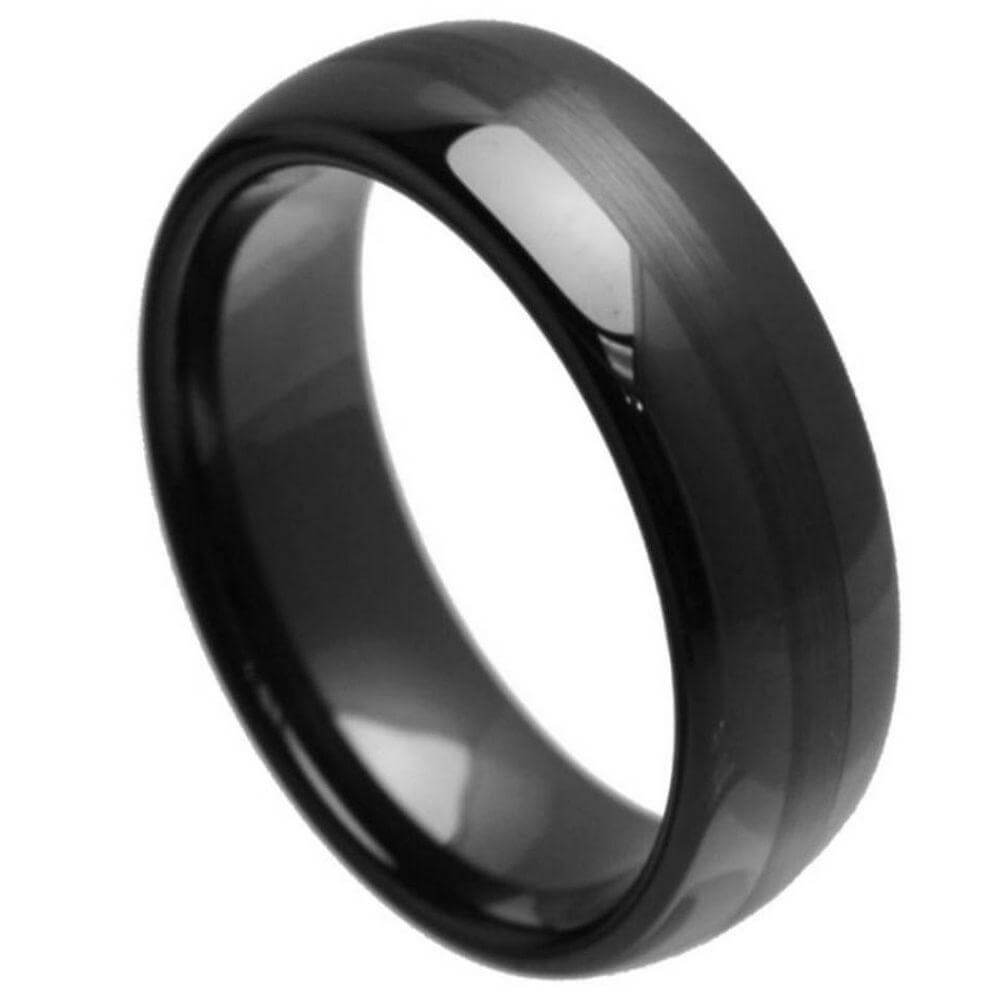 Black Ceramic Ring Domed High Polished with Brushed Center - 8mm