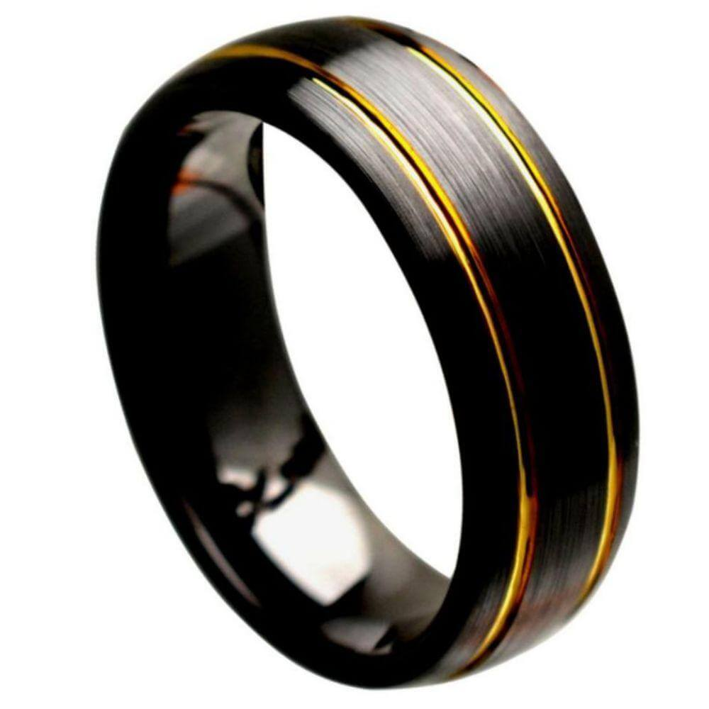 Black Ceramic Domed Ring Brushed Finish with 2 Yellow Gold Plated Grooves - 8mm