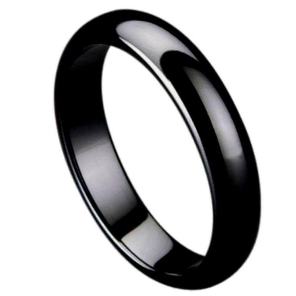 Black Ceramic Domed Ring High Polished - 5mm