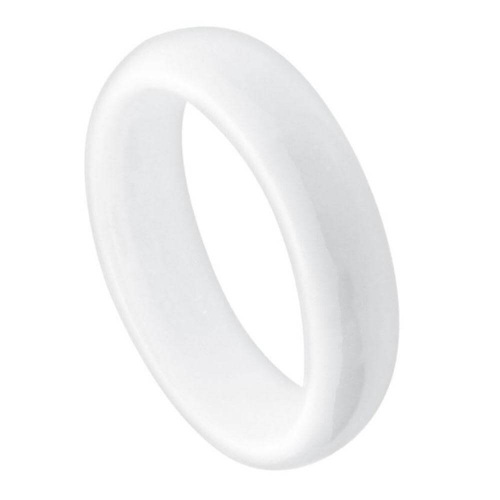 White Ceramic Domed Ring High Polished - 5mm