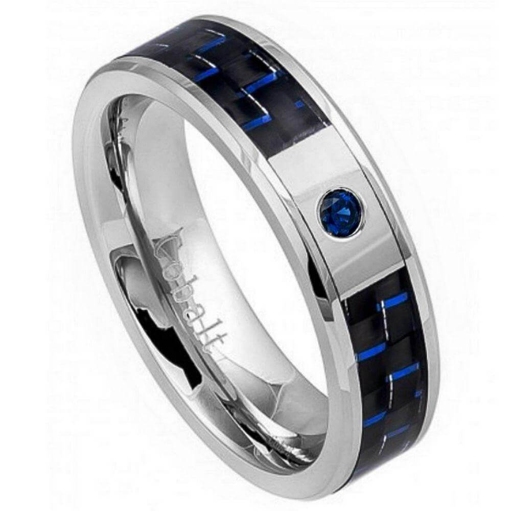 High Polish Cobalt Ring with 0.07ct & BLUE SAPPHIRE Center Stone and Blue & Black Carbon Fiber Inlay- 6mm