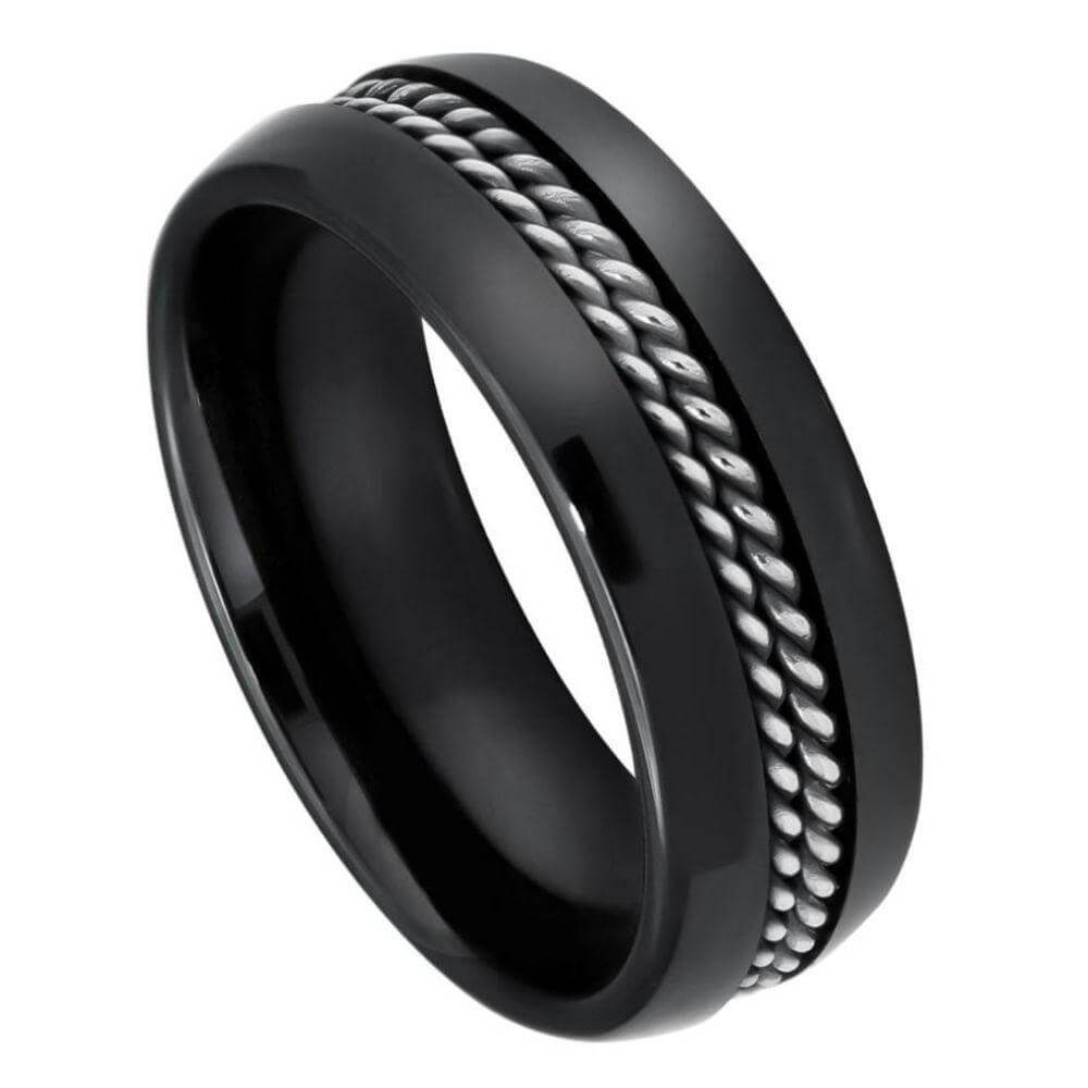 High Polished Domed Black Ceramic Ring with Double Rope Stainless Steel Inlay - 8mm