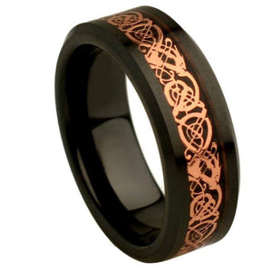 Flat Black Ceramic High Polish with Rose Gold Plated Celtic Dragon Inlay Beveled Edge - 8mm