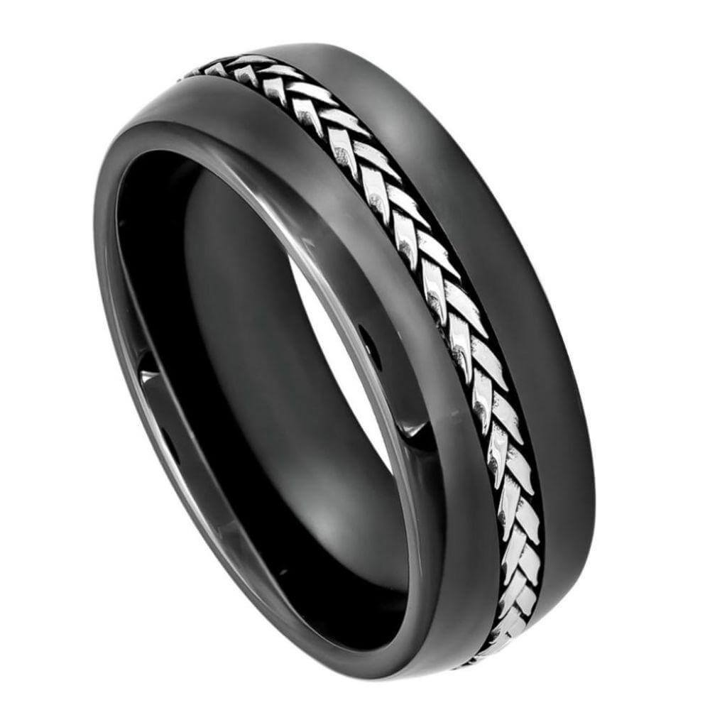 High Polished Domed Black Ceramic Ring with Braided Stainless Steel Inlay -  8mm