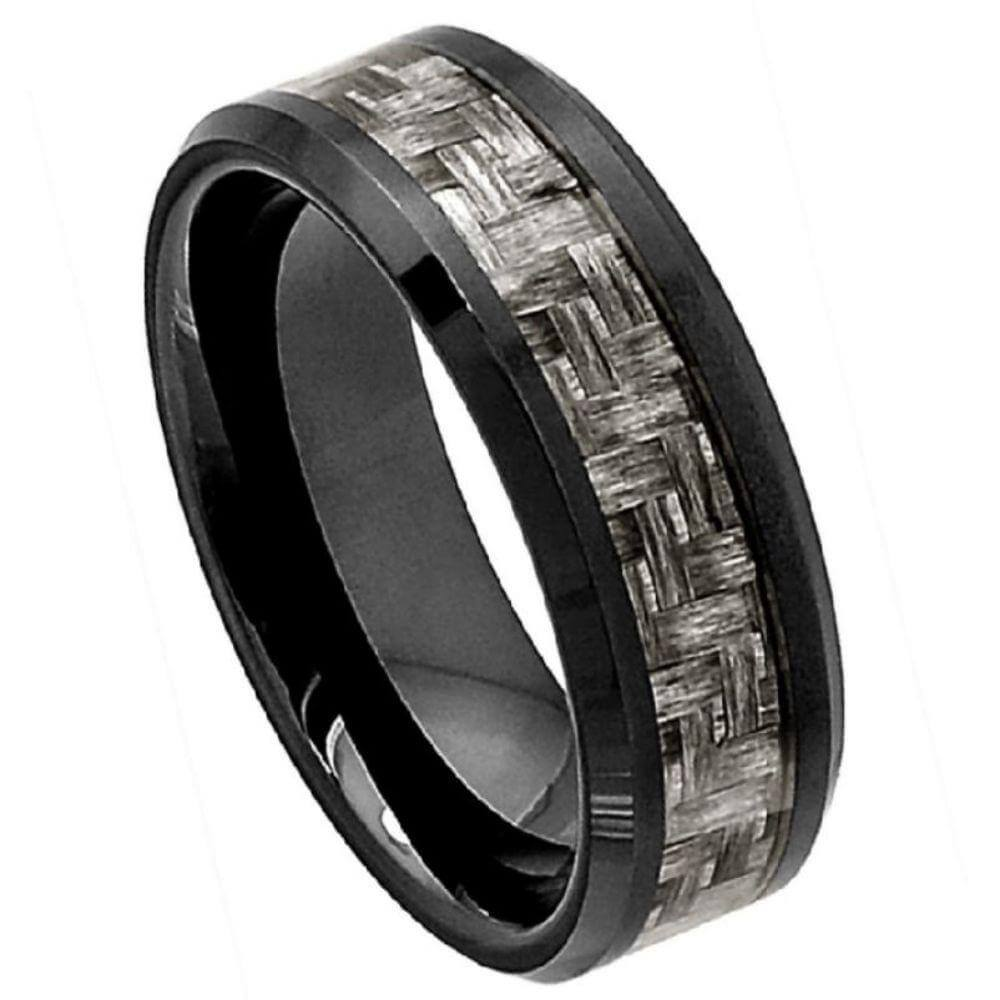 Flat Black Ceramic High Polish with Charcoal Gray Carbon Fiber Inlay Beveled Edge - 8mm