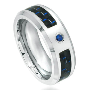 High Polished Cobalt Ring with 0.07ct BLUE SAPPHIRE Center Stone; with Blue & Black Carbon Fiber Inlay - 8mm