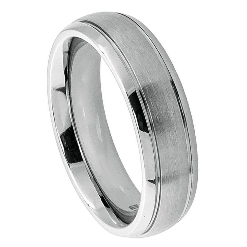 Titanium Ring Domed Brushed Center High Polish Ridged Edge - 6mm