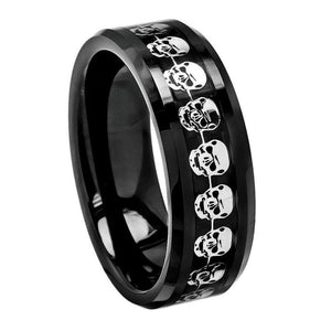 High Polished Black Carbon Fiber & Cut-Out Skull Symbol Inlay Beveled Edge - 8mm