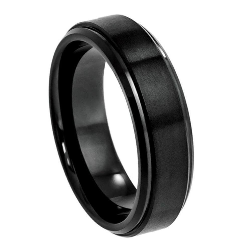 Cobalt Ring Black IP Plated Flat Brushed Center with High Polish Stepped Edge- 6mm