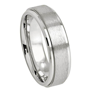 Cobalt Ring Brushed Center High Polished Stepped Edge - 7mm