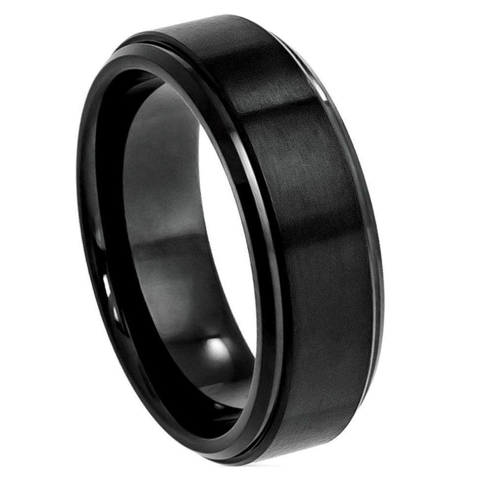 Cobalt Ring Black IP Plated Brushed Center High Polish Stepped Edge - 8mm