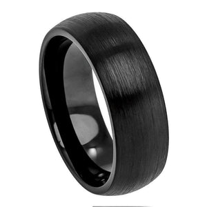 Cobalt Ring Black IP Plated Brushed Classic Domed Band - 8mm