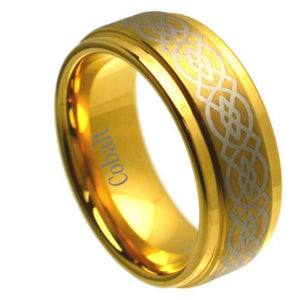 Cobalt Ring Yellow Gold Plated High Polish Laser Engraved Celtic Knot Pattern Stepped Edge - 8mm