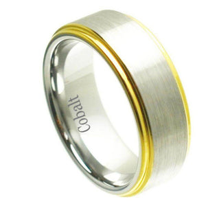 Cobalt Ring Yellow Gold Plated Shiny Edge & Brushed un-Plated Center - 8mm