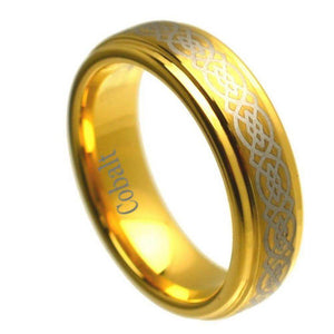 Cobalt Ring Yellow Gold Plated Stepped Edge High Polish Laser Engraved Celtic Knot Pattern- 6mm