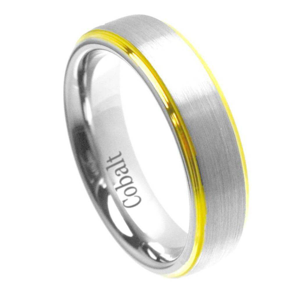 Cobalt Ring Yellow Gold Plated Shiny Edge & Brushed un-Plated Center- 6mm