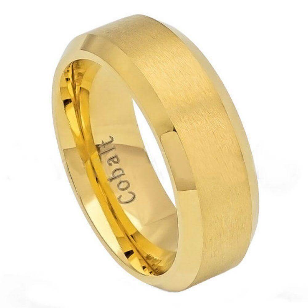 Cobalt Ring Brush Polished Gold Plated Center & Shiny Beveled Edge - 8mm