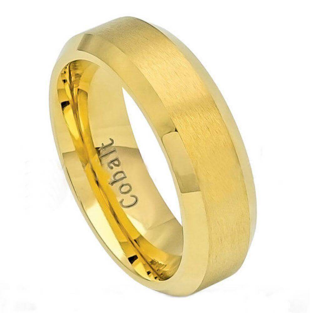 Cobalt Ring Brush Polished Gold Plated Center & Shiny Beveled Edge- 6mm