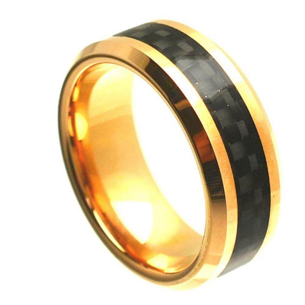 Cobalt Ring Yellow Gold Plated High Polish with Black Carbon Fiber Inlay Beveled Edge - 8mm