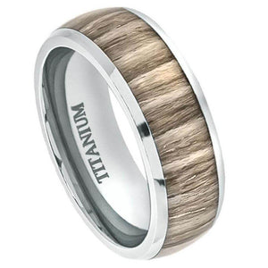 Titanium Ring High Polished Domed with Ashen Zebra Rosewood Inlay - 8mm