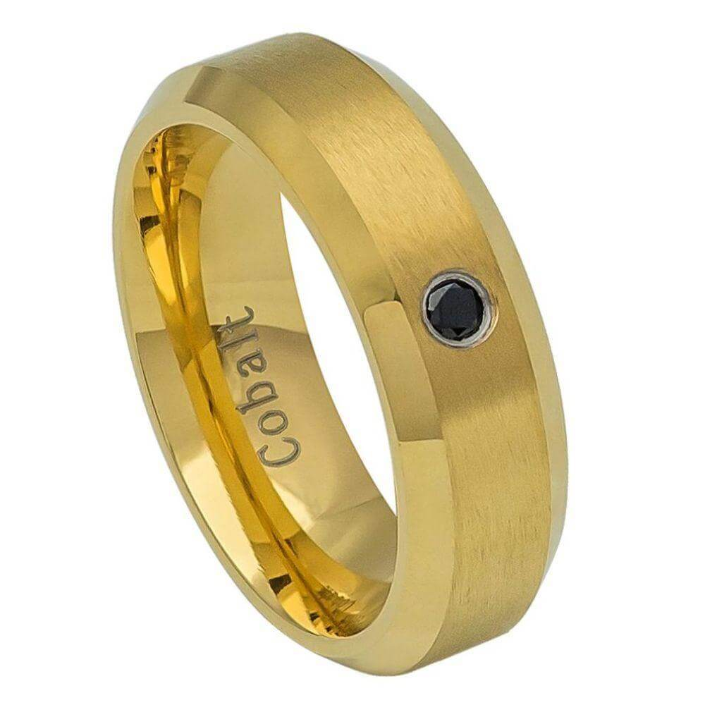 Cobalt Ring Black Yellow Gold Plated Brushed Center, High Polished Beveled Edge with 0.07ct & BLACK Diamond Center- 6mm