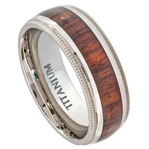 Titanium Ring Domed Milgrain Edge with Hawaiian Koa Rosewood Inlay - 8mm