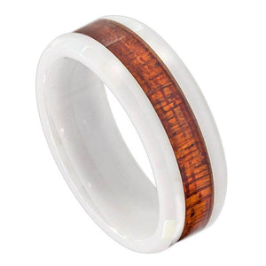 White Ceramic Ring with Hawaiian Koa Wood Inlay; Faceted Edge - 8mm