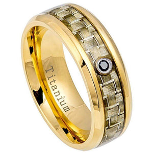 High Polished Yellow Gold IP Titanium Ring with Golden Carbon Fiber Inlay & 0.07ct & Black Diamond Center - 8mm