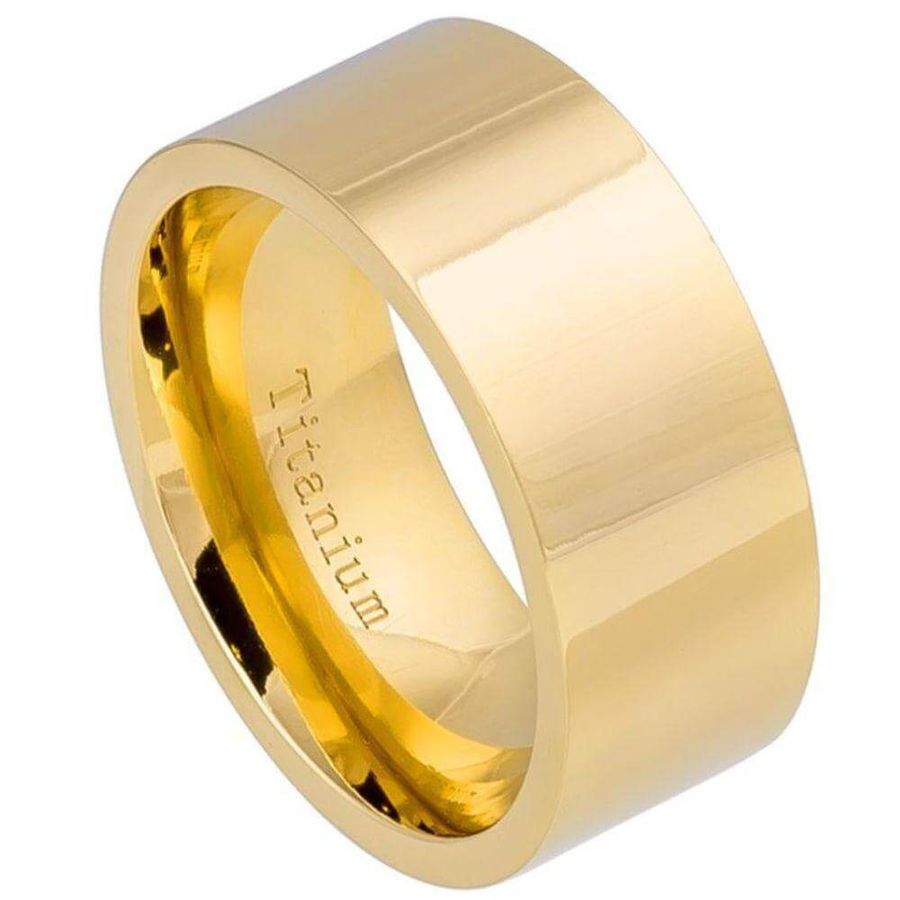 High Polished Pipe-cut Yellow Gold IP Titanium Ring - 10mm