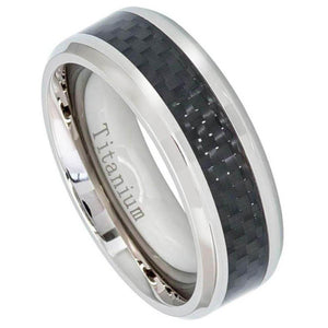 High Polish Titanium Ring with Black Carbon Fiber Inlay - 8mm