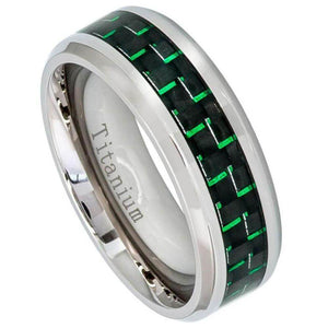 High Polished Titanium Ring with Green Carbon Fiber Inlay Beveled Edge - 8mm