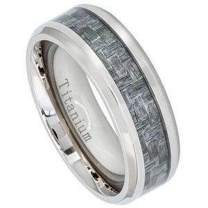 High Polish Titanium Ring with Charcoal Gray Carbon Fiber Inlay Beveled Edge - 8mm