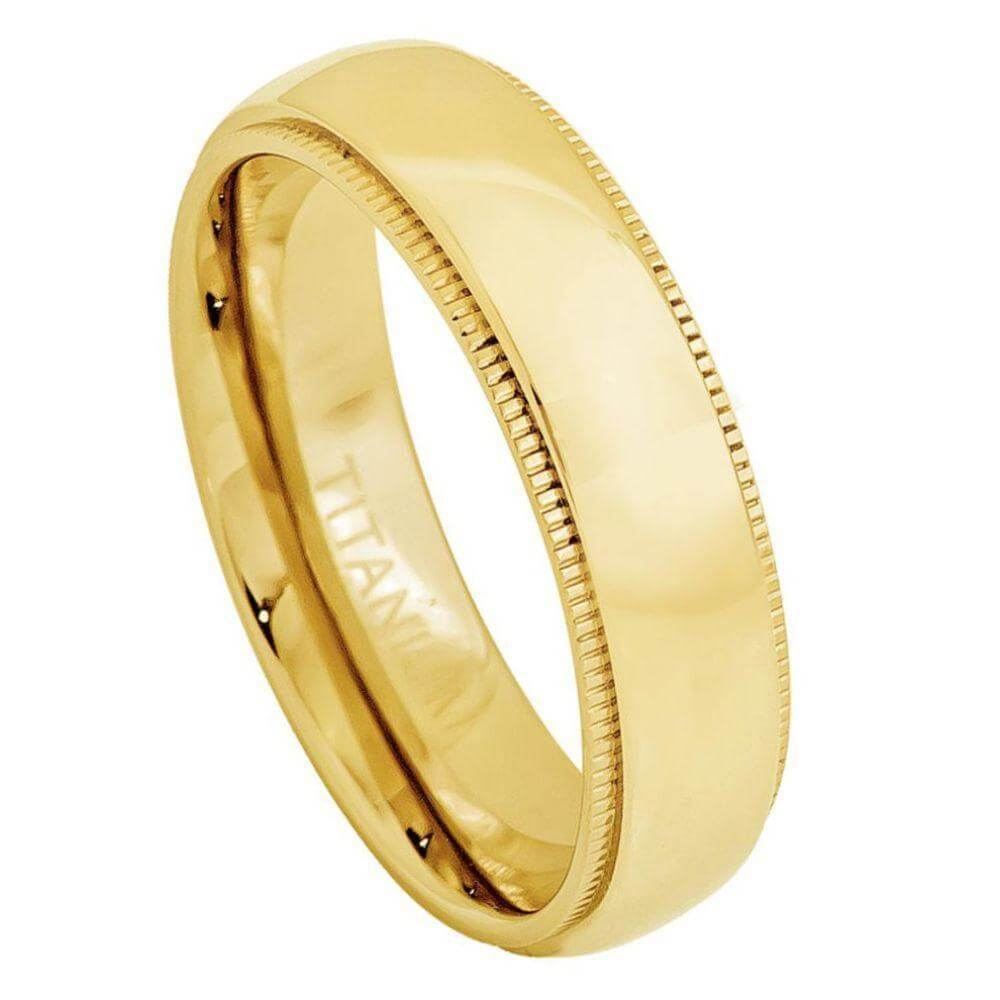 Yellow Gold Plated Domed Titanium Ring with Milgrain - 5mm