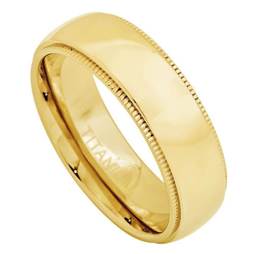 Yellow Gold Plated Domed Titanium Ring with Milgrain - 7mm