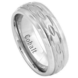 Cobalt Ring Brushed Center with Carved Chain Design and High Polished Beveled Edge - 8mm