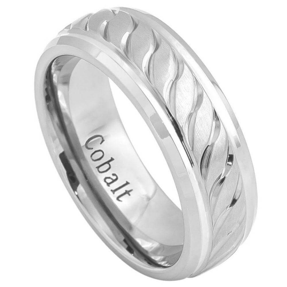 Cobalt Ring Brushed Center with Carved Squiggly Design and High Polished Beveled Edge - 8mm