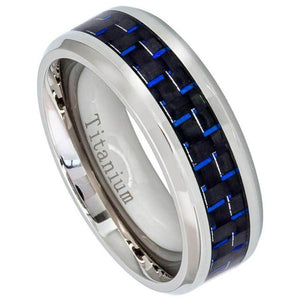 Titanium Ring High Polished Beveled Edge with Blue Carbon Fiber Inlay - 8mm