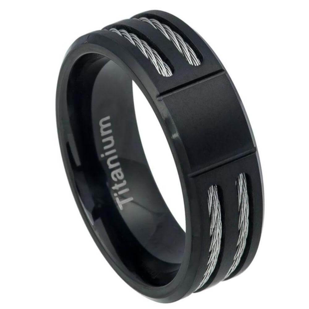 Square Grooved Center Brushed Black IP Titanium Ring Low Beveled Edge with Double Cable Inlay - 8mm